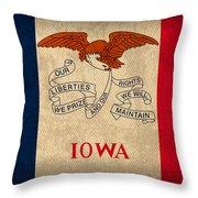 Iowa State Flag Art On Worn Canvas Throw Pillow