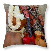 Ipu Heke And Red Ukulele With White Satin Lei Throw Pillow