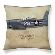Ira Kepford F4u Corsair - Map Background Throw Pillow