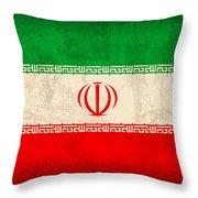 Iran Flag Vintage Distressed Finish Throw Pillow