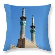 Iran Yazd Mosque Spires  Throw Pillow