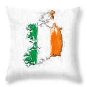 Ireland Painted Flag Map Throw Pillow