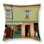 Irenes's Pub And Ernesto's Barber Shop Bank St Shops In The Glebe Paintings Of Ottawa Cspandau  Throw Pillow