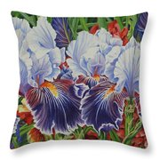 Iris Blooms Throw Pillow