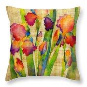 Iris Elegance On Yellow Throw Pillow