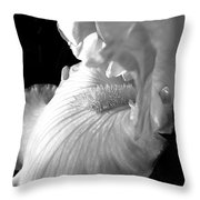 Iris Flower In Black And White Throw Pillow