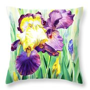 Iris Flowers Garden Throw Pillow