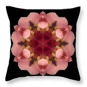 Iris Germanica Flower Mandala Throw Pillow by David J Bookbinder
