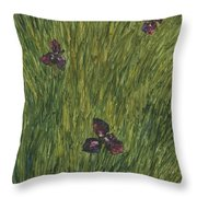 Iris In A Field Throw Pillow
