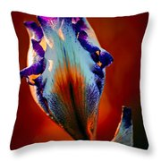 Iris In Red Throw Pillow