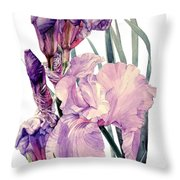 Watercolor Of An Elegant Tall Bearded Iris In Pink And Purple I Call Iris Joan Sutherland Throw Pillow