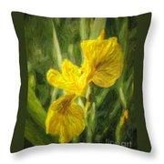 Iris Pseudacorus Yellow Flag Iris Throw Pillow
