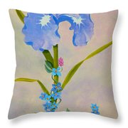 Iris With Forget Me Nots Throw Pillow