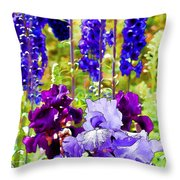 Irises And Delphinium In The Garden Throw Pillow