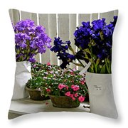 Irises And Impatiens Throw Pillow