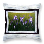 Irises And Old Boards - Weathered Wood Throw Pillow