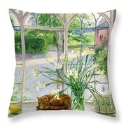 Irises And Sleeping Cat Throw Pillow by Timothy Easton