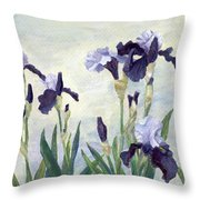 Irises Purple Flowers Painting Floral K. Joann Russell                                           Throw Pillow