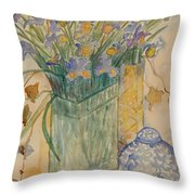 Irises With Chinese Pot Throw Pillow