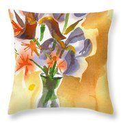 Irises With Stars Of Bethlehem Throw Pillow by Kip DeVore