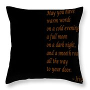 Irish Blessing 4 And Full Moon Throw Pillow
