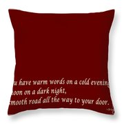 Irish Blessing - Full Moon - Greeting  - Red Throw Pillow