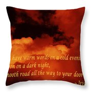 Irish Blessing On Orange Clouds And Full Moon Throw Pillow