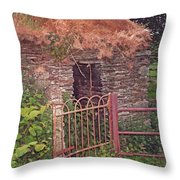 Irish Cottage Of Long Ago Throw Pillow