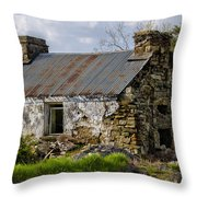 Irish Cottage Ruins Throw Pillow