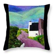 Irish Cottage With Cat Throw Pillow