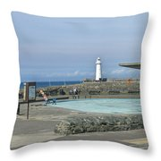 Irish Sea Lighthouse On Pier Throw Pillow