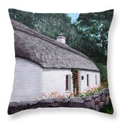 Irish Thatched Cottage Throw Pillow