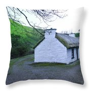 Irish Thatched Roof Cottage Throw Pillow