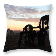 Iron Horse Keeping Watch Throw Pillow