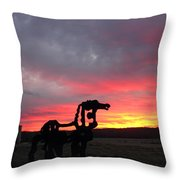 Iron Horse Waiting Throw Pillow