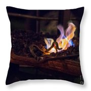 Iron In Fire Oiltreatment Throw Pillow