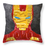 Iron Man Superhero Vintage Recycled License Plate Art Portrait Throw Pillow