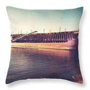 Iron Ore Freighter In Dock Throw Pillow