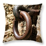 Iron Rings In Stone Throw Pillow by William Selander
