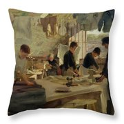 Ironing Workshop In Trouville Throw Pillow