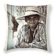 Isaan Rice Farmer Throw Pillow