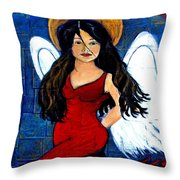 Isabella  A Spanish Earth Angel From Cultures Around The World Throw Pillow by The Art With A Heart By Charlotte Phillips