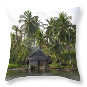 Isla Tigre - Hut Over Water And Palm Trees Throw Pillow