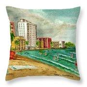 Isla Verde Beach San Juan Puerto Rico Throw Pillow