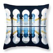 Islamic Architecture Of Abu Dhabi Grand Mosque - Uae Throw Pillow