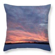 Island Barn Sunset Throw Pillow