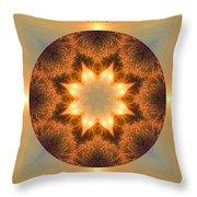 Island Beach Sunset Mandala Throw Pillow