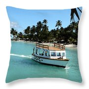 Island Boat Throw Pillow
