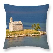 Island Church By The Sea Throw Pillow by Brch Photography