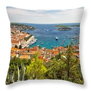 Island Of Hvar Scenic Coast Throw Pillow